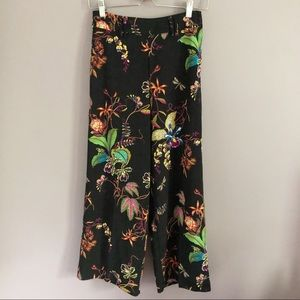 H&M High Waisted Cropped Wide Leg Floral Trousers